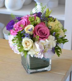 The Lavender grace arrangement is a mixture of white and green hydrangeas Wedding Flower Arrangements, Flower Centerpieces, Floral Arrangements, Wedding Flowers, White Spray Roses, Green Hydrangea, Fresh Flower Delivery, Lavender Roses, Planting Flowers