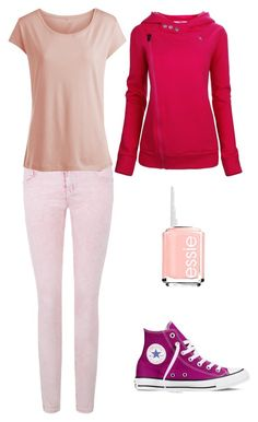 """Pink casual"" by lewiskate-1 on Polyvore featuring Essie, Pieces and Converse"