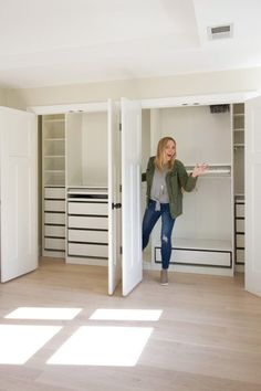 How to install the ikea pax closet system. This is such an awesome way to DIY your closet into an organized oasis! Come learn my 5 tips to install the IKEA PAX and create the custom closet of your dreams! Ikea Closet Hack, Ikea Hack Bedroom, Ikea Closet Organizer, Closet Hacks, Ikea Living Room, Ikea Pax Hack, Living Rooms, Bedroom Closet Design, Closet Designs