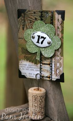 We're going green at Inspiration Emporium this month. I'm doing a St. Patty's day theme with a punched shamrock and a 17 plaquette by Ide...