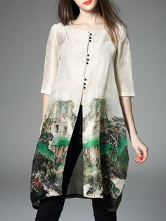 Printed Silk Linen Tunic