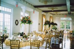 A vintage wedding reception with gold accents brings a sense of luxury to your big day! {Black Horse Inn}