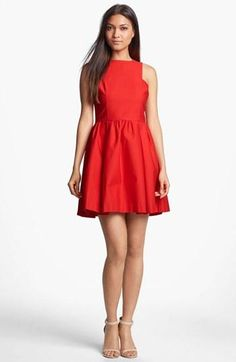 Love this vibrant red fit & flare!