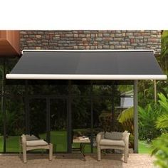 W x 10 ft. D Retractable Patio Awning Color: Antracita Polycarbonate Roof Panels, Deck Umbrella, Window Awnings, Door Canopy, Windows And Doors, Porch, Patio, Balcony