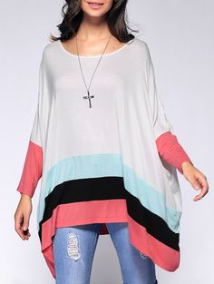 Hit Color Loose Long Sleeves T-Shirt