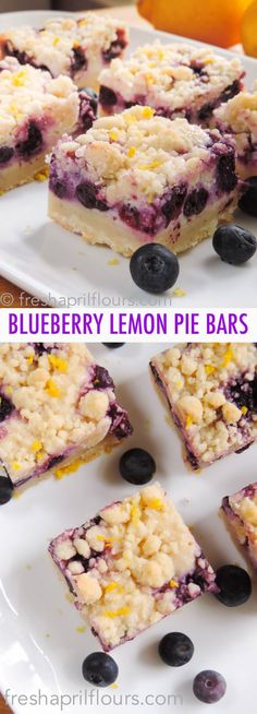Creamy and sweet pie bursting with blueberries and citrusy lemon on top of shortbread crust. In portable bar form! Spring Desserts, Lemon Desserts, Lemon Recipes, Easy Desserts, Sweet Recipes, Delicious Desserts, Spring Recipes, Dessert Recipes, Yummy Food
