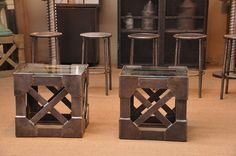 1930 French Vintage Industrial Pair of Sofa Side Tables