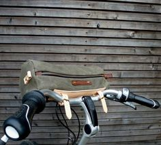 Waxed+Canvas+Bicycle+Handle+Bar+and+Messenger+Bag+with+zipper+closure