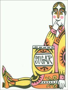 Sugar… Illustration by John Alcorn, 1966.