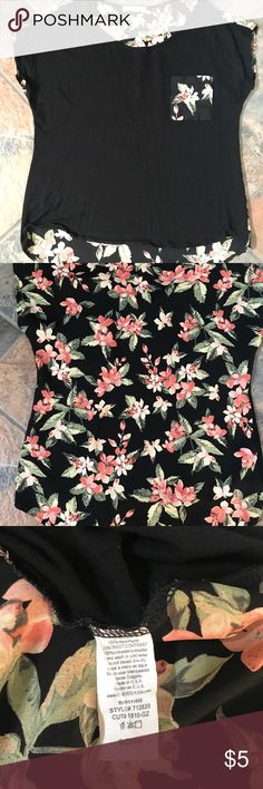 Cute floral top Hi low top. My daughter bought And never wore. Size small but will fit medium too. Tops Blouses