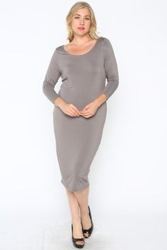 *** Jersey Midi Dress-Plus *** Jersey midi dress with scoop neck and 3/4 sleeves. Unlined.