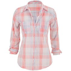 maurices Lightweight Plaid Button Down Shirt ($12) ❤ liked on Polyvore