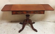 Spectacular Mahogany Drop Leaf Table with Pedestal Base and Flame Mahogany Drawers $245