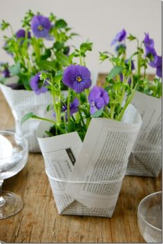 Banquet centerpieces: pot wrapped in newspaper. Must be purple, must be pansies! Deco Table, A Table, Decoration St Valentin, Banquet Centerpieces, Centerpiece Ideas, Potted Plant Centerpieces, Simple Centerpieces, Diy Girlande, Deco Floral