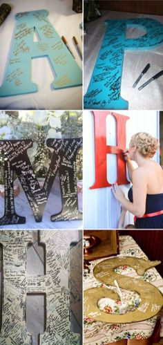 """You guys can use a """"G"""" for Gonzalez and then hang it in your new home! Unique Wedding Guest Book Inspirations31"""