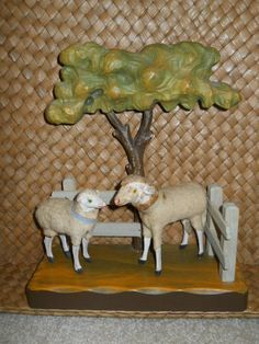 Antique Putz Wooly Sheep ~ Wood Stick Legs Composition ~ Lot of Two ~ AAFA