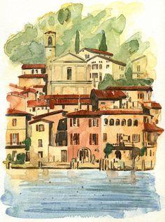 Peschiera.Maraglio.BS Albania, Watercolors, Painting, Art, Italia, Art Background, Water Colors, Painting Art, Kunst