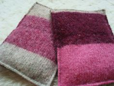 Recycled felted sweater wool team up with rice to keep your hands toasty. Just pop these little cuties in the microwave for 30 seconds and then slip them into coat pockets to keep hands warm for up to an hour.