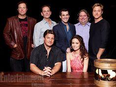 firefly-reunion-2012 Nathan Fillion, Alan Tudyk, Summer Glau, Adam Baldwin, Sean Maher, showrunner Tim Minear, and writer Jose Molina