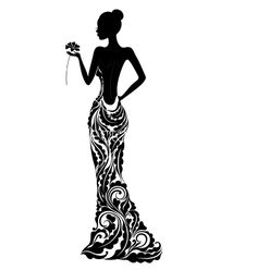 Girl in a dress with floral ornament vector 1288466 - by svribalka on VectorStock®