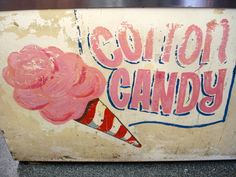 Inspiration....pink and candy red stripes    Old cotton candy sign