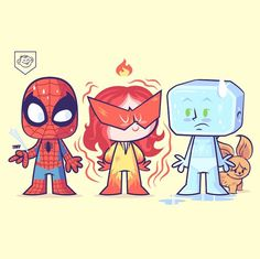 Lil BFFs - Spider-man and his Amazing Friends by Dennis Salvatier Spiderman, Pretty Art, Cute Art, Geeks, Chibi, Baby Superhero, Cartoon Video Games, New Warriors, Culture Pop
