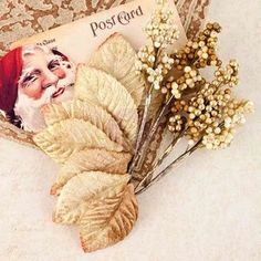 Red Stocking Velvet Mulberry Paper Leaves - A Victorian Christmas - Prima