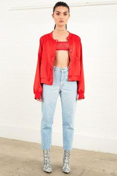 Silky Bomber Jacket Red