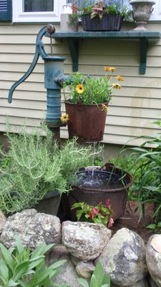 Water feature...Old pump, old rusty bucket, old cauldron.