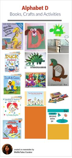Alphabet books, crafts and activities for letter D - dog, dinosaur, ducks and doors