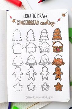 Want to add some decoration to your bullet journal this holiday season!? Check out these step by step christmas doodles for inspiration! Bullet Journal Christmas, December Bullet Journal, Bullet Journal Writing, Bullet Journal Ideas Pages, Bullet Journal Inspiration, Book Journal, Journals, Easy Christmas Drawings, Christmas Doodles