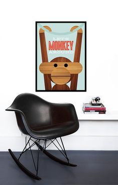 Poster Danish monkey Kay Bojesen print Mid century modern quote kitchen art retro nursery art - Let's Monkey Around 50 x 70 cm