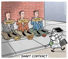 Smart Contracts haben das Potential die Wirtschaft zu revolutionieren. #Smartcontracts #Blockchain #Digitalisierung #Ethereum #Cartoon #Karikatur