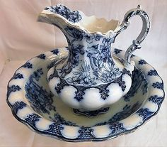 ANTIQUE FLOW BLUE PITCHER & BOWL SET BY MADDOCK & SONS