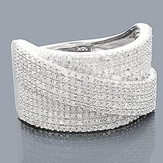 14K White Gold Pave Diamond Wedding Band 0.93ct