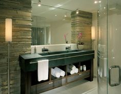 Bathroom, Fetching Bathroom Decorating Ideas With Open Storage For Rolled Towel Cabinet Faucet Sink Shower Stool Pot Large Mirror Stone Textured Pillar Marble Floor: Bathroom Decorating Ideas with Inspiring Looks