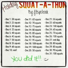 Squat-a-Thon: Try it in any month - don't wait for December to roll back around! shelli heim, healthi nut, fit group, leg workout, healthi lifestyl, healthi live