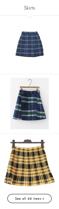 """""""Skirts"""" by trixarentforkids ❤ liked on Polyvore featuring skirts, bottoms, tartan skirt, blue skirts, tartan plaid skirt, wool blend skirt, blue plaid skirt, mini skirts, plaid and saias"""
