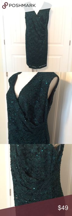 Evergreen, sequin lace dress Sequin & lace, evergreen cocktail dress.  Faux wrap front, fitted through the body, with gathers at waist for flattering fit, & pencil style skirt. Modest length, at knee.  Perfect for most evening events!!! NWT Dress Barn Dresses