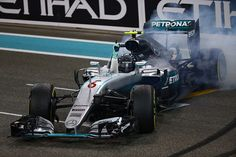 "Nico Rosberg performing several ""doughnuts"" for the crowd after winning his first F1 World Championship at Yas Marina 27Nov2016."