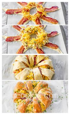 Crescent Bacon n Egg Breakfast Ring  1 can crescent rolls 8 strips cooked bacon  1 cup shredded cheese  6 large eggs  Lay crescent rolls out in star position  Lay a strip of cooked bacon on top of each piece.  Spread half the cheese on top of the bacon. Scramble eggs. Scoop eggs on top of the cheese/bacon and top with remaining cheese. Fold pointed tip over the filling towards the Centre of the ring.  Bake @375 oven for 20 minutes until golden brown.