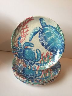 Welcome to Here is a set of 4 Tommy Bahama Melamine Salad Plates. Made of melamine. Blue with white sealife graphics. The Red Turtle, Fish Plate, New China, Natural Building, Second Chances, Side Plates, Tea Sets, Plate Sets, Seashells