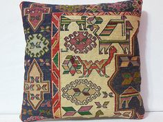 70 Years Old Silk Kilim Pillow Cover  Animal Design by DECOLIC, $145.00