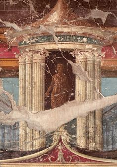 Detail of painting on the west wall of the triclinium. Rome Painting, Mural Painting, Rome Antique, Antique Art, Ancient Romans, Ancient Art, Tempera, Pompeii And Herculaneum, Ceiling Art