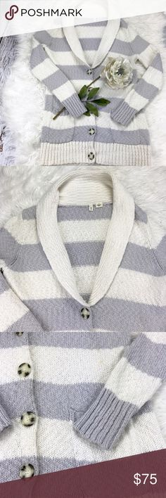 """💕SALE💕Anthropologie Gray & Cream Long Sweater Fabulous Anthropologie Gray & Cream Long Sweater with Pockets Super Soft and Warm 32"""" from the top of the shoulder to the bottom 26"""" Sleeve Length 19"""" from armpit to armpit Anthropologie Sweaters"""