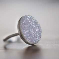 Druzy Ring White Druzy Oval Drusy Sterling Silver by LUCIUSjewelry