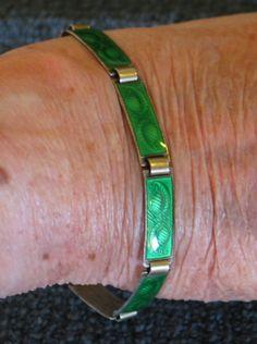 1960's AKSEL HOLMSEN 925 SILVER & GREEN GUILLOCHE ENAMEL BRACELET NORWAY Enamel Jewelry, Norway, 925 Silver, Scandinavian, Bracelets, Green, Fashion, Moda, Fashion Styles