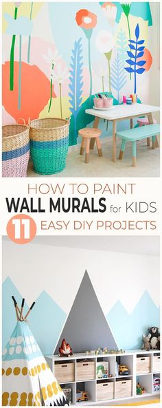 How to Paint Wall Murals for Kids 10 Easy DIY Projects! Learn how to make great wall murals of mountains flowers night sky under the sea and more! Playroom Mural, Kids Wall Murals, Murals For Kids, Kids Wall Decor, Art Wall Kids, Diy Wall Art, Painted Wall Murals, Wall Decorations, Diy Art