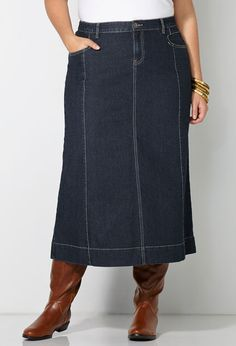 Plus Size Long Denim Skirt image | Clothing, Style | Pinterest ...