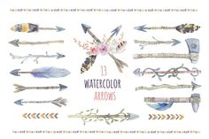 Watercolor boho arrows & bouquets. Wedding Clip art collection. Individual PNG files. Hand Painted rustic DIY. By Peace_Shop